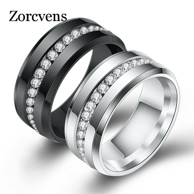 Forever Flawless Jewelry 8mm Stone Textured Beveled Edge Vertical Groove Brushed and Polished Black Ceramic Wedding Band