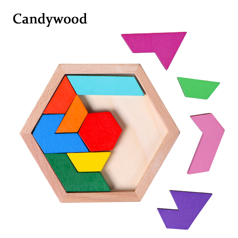 Candywood Children Wooden Toys Intellectual Jigsaw Puzzle Geometric Shape Puzzles Kids Children Educational Toys For Boys