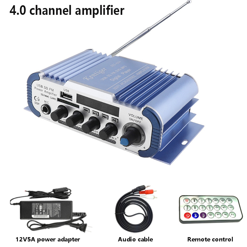 Kentiger HY604 4.0 Channel Stereo Power Amplifier With 15V5A Adapter And AV Cable USB SD FM Professional Karaoke Amp For Car цена