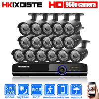 16CH 1080P HDMI DVR 2500TVL 960P HD Outdoor Security Camera System 16Channel CCTV Surveillance DVR Kit 1.3MP AHD Camera Set