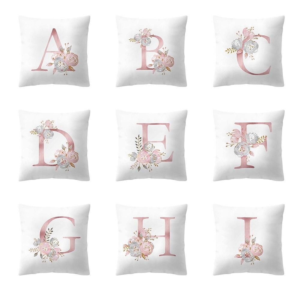 Letter Pillow Room Decor Polyester Flower Pillowcase 45x45cm Cushion Cover Sofa