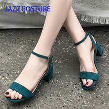 Black apricot dark green fashion Concise new Fish mouth women shoes sandals square heel high heels shoessize 35-39 y220