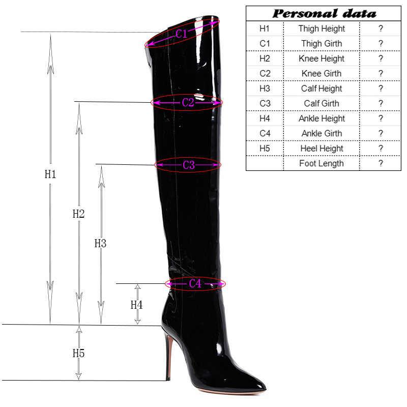 Hakiki Deri Custom Made Uzun Çizmeler Fetiş Platformu Uyluk Yüksek diz Perçinler Bayanlar Ayakkabı Kadın Fermuar Lace Up Kış 2019