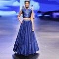 Индийский Королевский Синий 2 Шт. Длинные Пром Платья Индии Одежда Женщины Тонкий Вышивка Длинные Вечерние Платья Пром Танк С Карманом