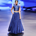 Indian Royal Blue 2 Pieces Long Prom Dresses India Clothing Women Delicate Embroidery Long Formal Prom Gowns Tank With Pocket