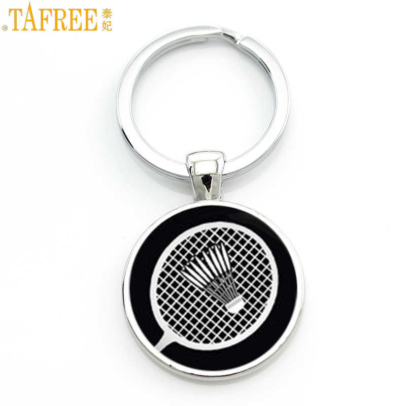 TAFREE novelty fashion photo jewelry vintage badminton keychain men women casual sports key chain ring holder for car bag SP904