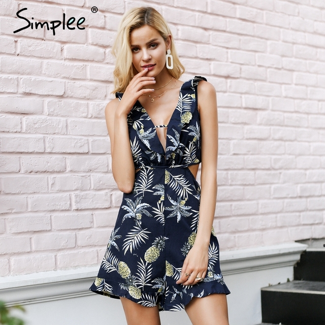 Simplee Hollow out women jumpsuit summer Backless lace up sexy romper Ruffle v neck beach playsuit female short overalls 2018 1