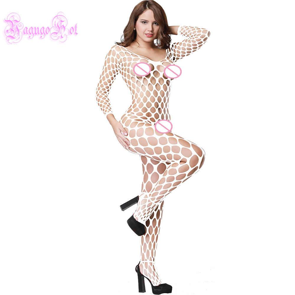 Mật ong Lược Fishnet Crotchless Bodystocking Catsuit Babydoll Bodydoll Vai Trần Quần Lót Trang Phục Initmates Bodysuits Nữ