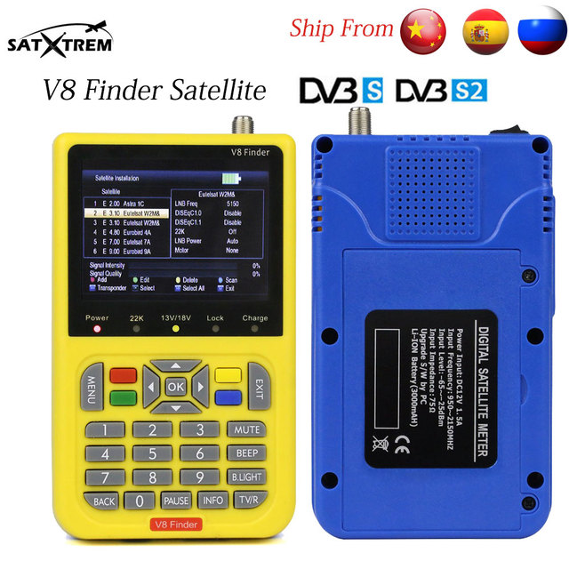 Satxtrem DVB-S2 V8 Finder HD Digital Satellite Finder With 3.5 inch LCD Display MPEG-4 Satfinder Similar To Freesat V8 Finder