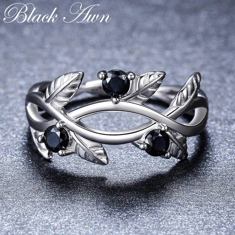 2018 New Romantic 925 Sterling Silver Fine Jewelry Engagement Black Spinel Engagement Ring for Women Anillos Mujer G074
