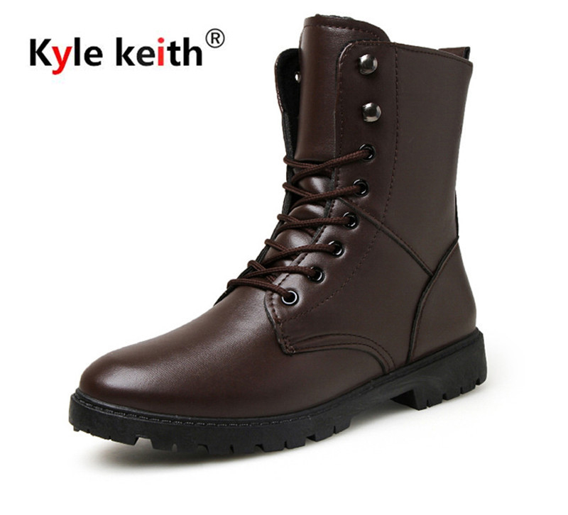 Kyle Keith Brand Autumn and Winter font b Men b font Boots High Quality Leather font
