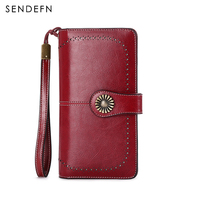 Sendefn Brand Fashion Luxury Women Leather Wallets Female Card Holder Long Lady Clutch Phone Pocke