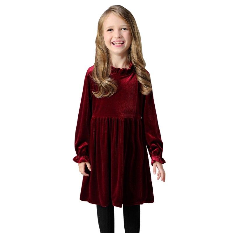 Thick Warm Velvet Dresses 2019 Winter Spring Age For 4-14 Teenage Girls Long Sleeve Dress Elegant Frocks Autumn Big Girl Clothes