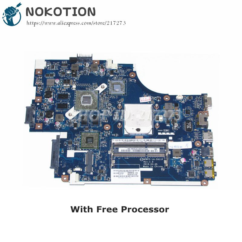 NOKOTION For Acer aspire 5551 5551G 5552G Laptop Motherboard MBWVF02001 NEW75 LA-5911P HD5650 1GB Video card DDR3 Free CPU nokotion la 5481p laptop motherboard for acer aspire 5516 5517 5532 mbpgy02001 mb pgy02 001 ddr2 free cpu mainboard