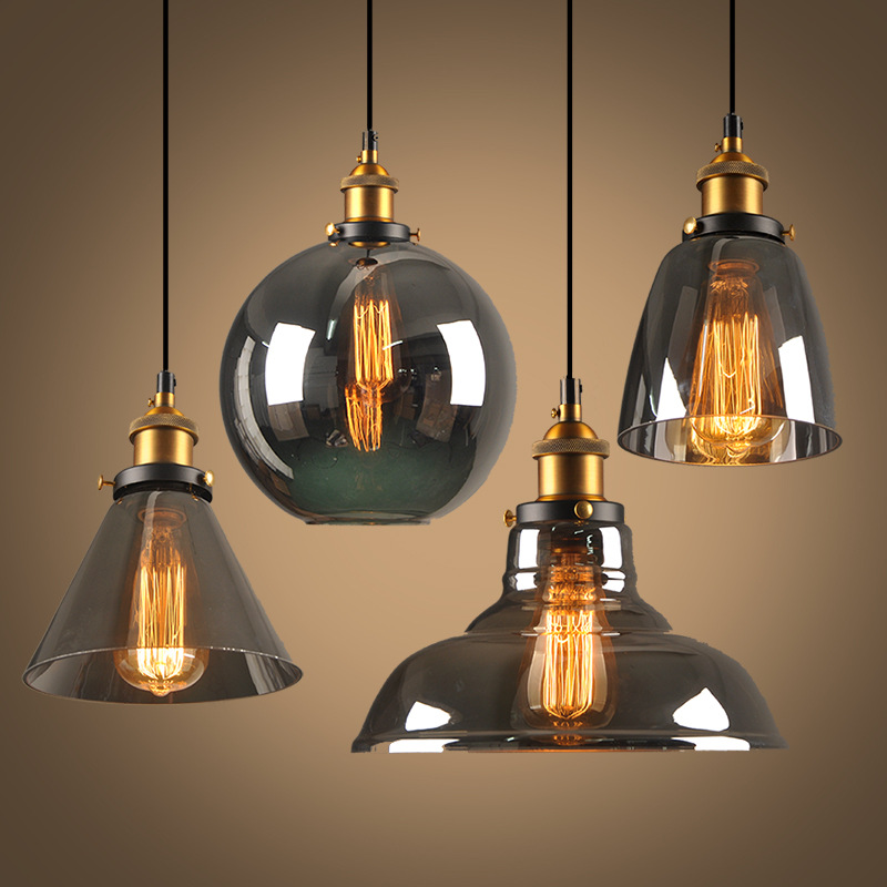 New style smoky grey e27 pendant lights glass lamp for Luminaire noir suspension