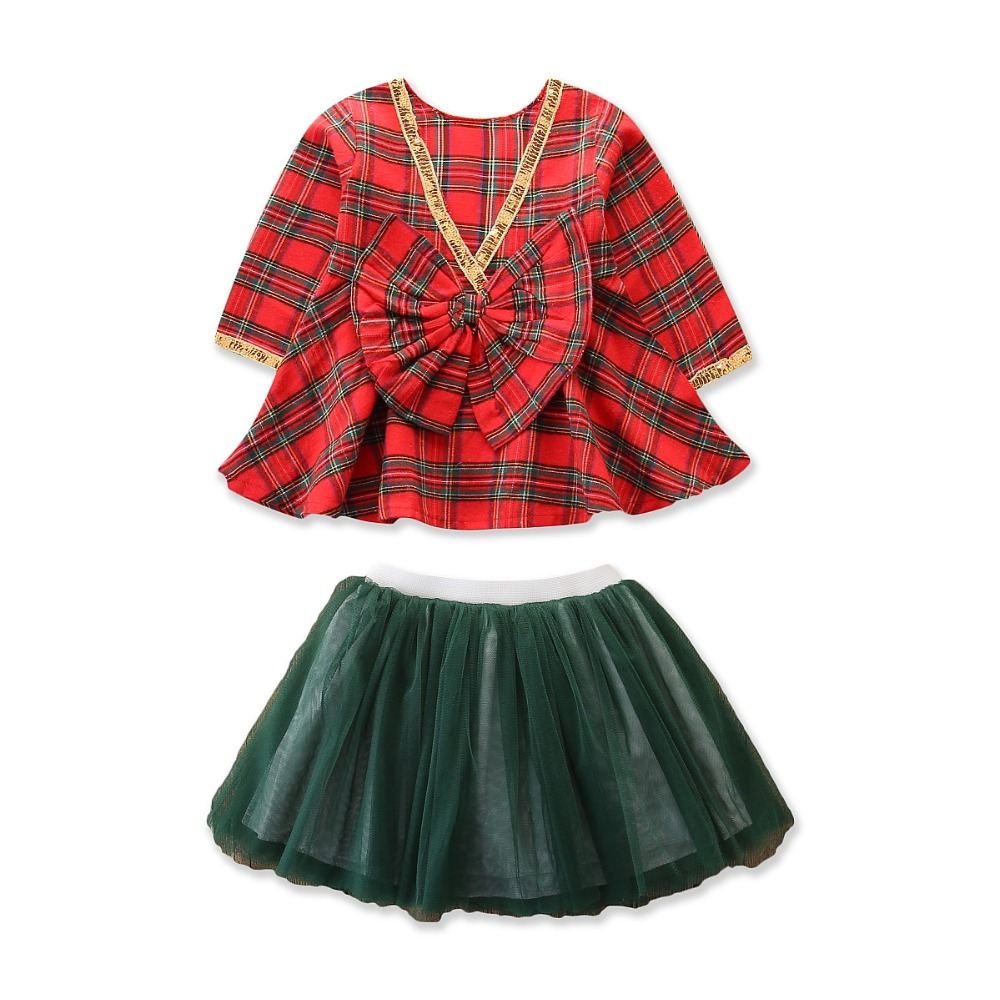Girl Christmas Dress Set Clothes Costume Bowknot Party Dress+Hat 2Pcs Outfit