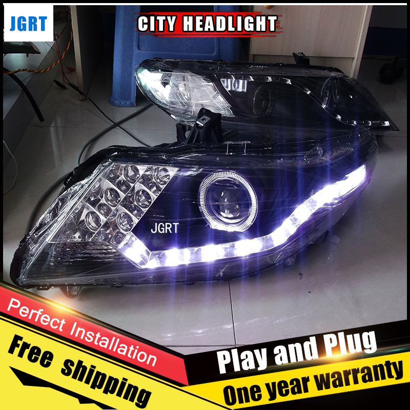 2PCS Car Style LED headlights for Honda City 2010-2013 for City head lamp LED DRL Lens Double Beam H7 HID Xenon bi xenon lens auto part style led head lamp for toyota sienna led headlights 2011 for sienna drl h7 hid bi xenon lens angel eye low beam