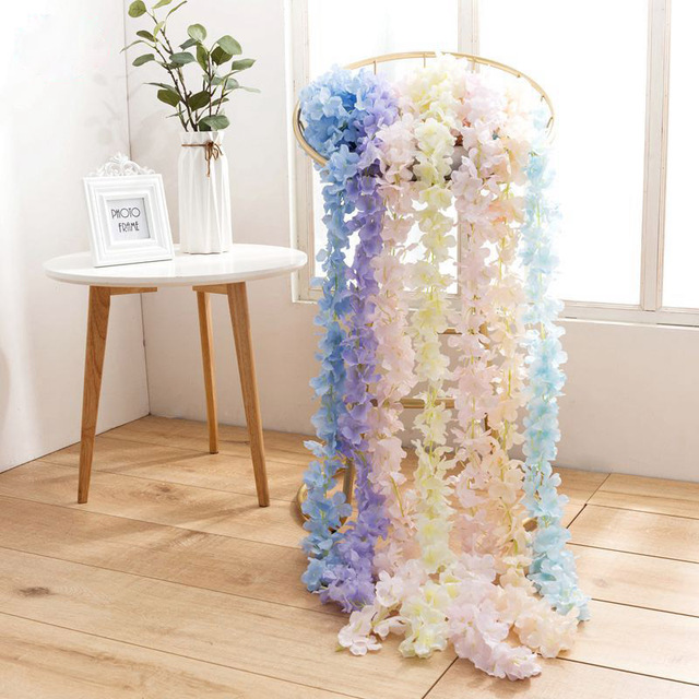 200cm Hydrangea Wedding Arch Decoration Vine Artificial Flowers Home Party Decor Silk Ivy Wall Hanging Garland