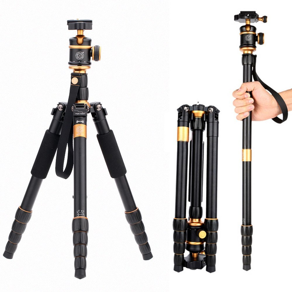 QZSD Q888 Tripod Monopod Aluminum Alloy with Ball Head Portable Detachable Changeable Travelin For SLR Camera DSLR Camcorder qzsd q570 portable tripod professional camera tripod monopods for slr camera tripod head monopod changeable for slr dslr camera
