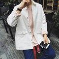 2015 новых осенью англии стиль диких простой свежий искусства белые джинсовые куртки пальто свободного покроя свободная джинсовая куртка мужчины, M-xxl