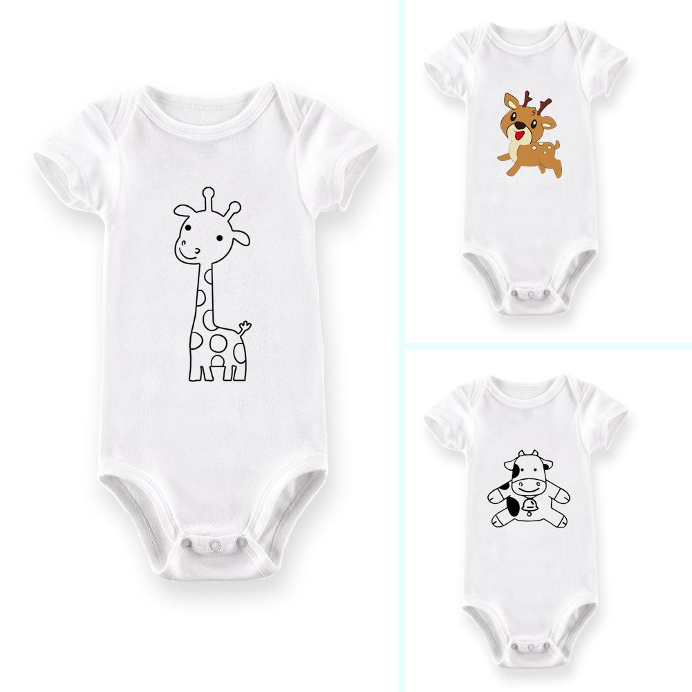 Infant Baby Boys Girls Cartoon Deer Cow Giraffe Newborn Summer Romper Jumpsuit