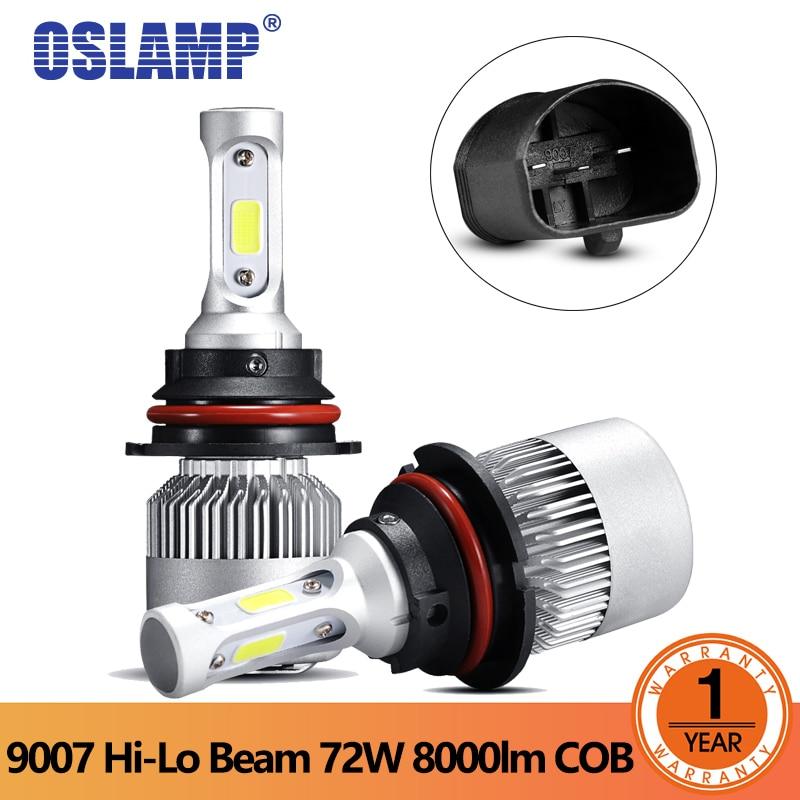 Oslamp S2 светодиодный фар 9007 светодиодный 72 Вт УДАРА фишек фары автомобиля Hi-Lo луч лампы 8000LM 6500 К 12 В 24 В светодиодный авто фары