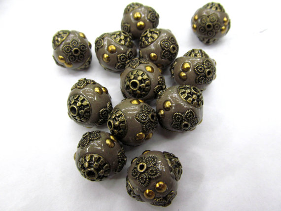 fashion 14mm 100pcs handmade round clay &crystal ball kashmiri polymer with brass oranger yellow turqoise mixed jewelry beads wholesale bulk 20mm 100pcs handmade round clay
