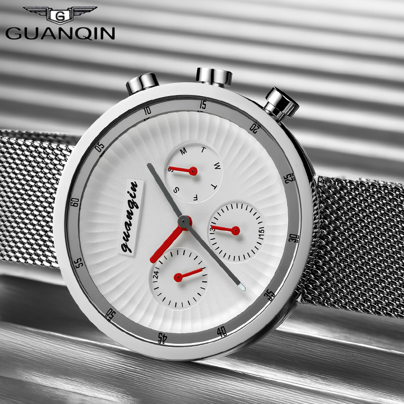 цены Men Quartz Wrist Watch Relogio Masculino GUANQIN Top Brand Luxury Watches Men Mesh Strap Clock Man Sport Full Steel Waterproof