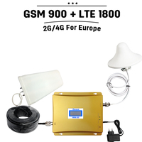 2G 4G Dual Band Cellphone Signal Booster GSM 900 1800 Mobile Signal Repeater 65dB GSM 900mhz