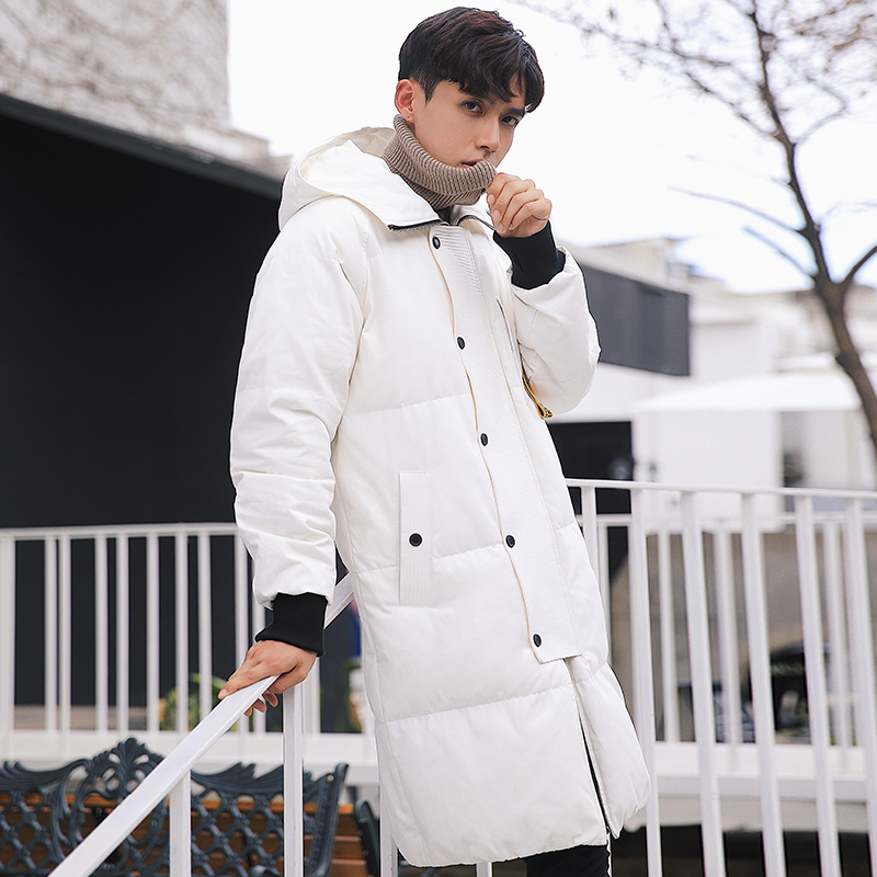 2017 winter new fashion mens long hooded down jacket male clothes worm down coat outerwear good quality