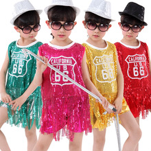 5pcs/lot Free Shipping Sequin Children Hip Hop Girls Clothes Kids Stage Show Competition Ballroom Jazz Hiphop Dancewear Costumes