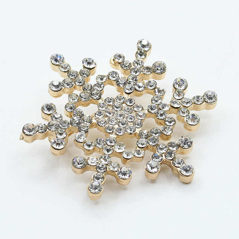 Crystal Snowflake Brooch Pins Rhinestone Snow Brooches Gold Silver Plated Jewelry Badges Women Men Clothes Scarf Accessories
