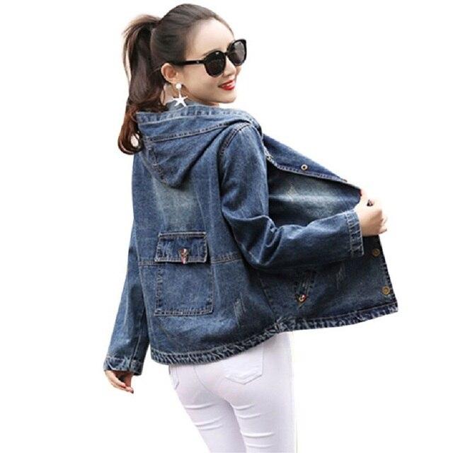 028e012fc6b Jeans Jacket Women Casacos Feminino Plus Size 3XL Vintage Hooded Denim  Bomber Jacket 2017 Women Basic Coats Casual Jackets