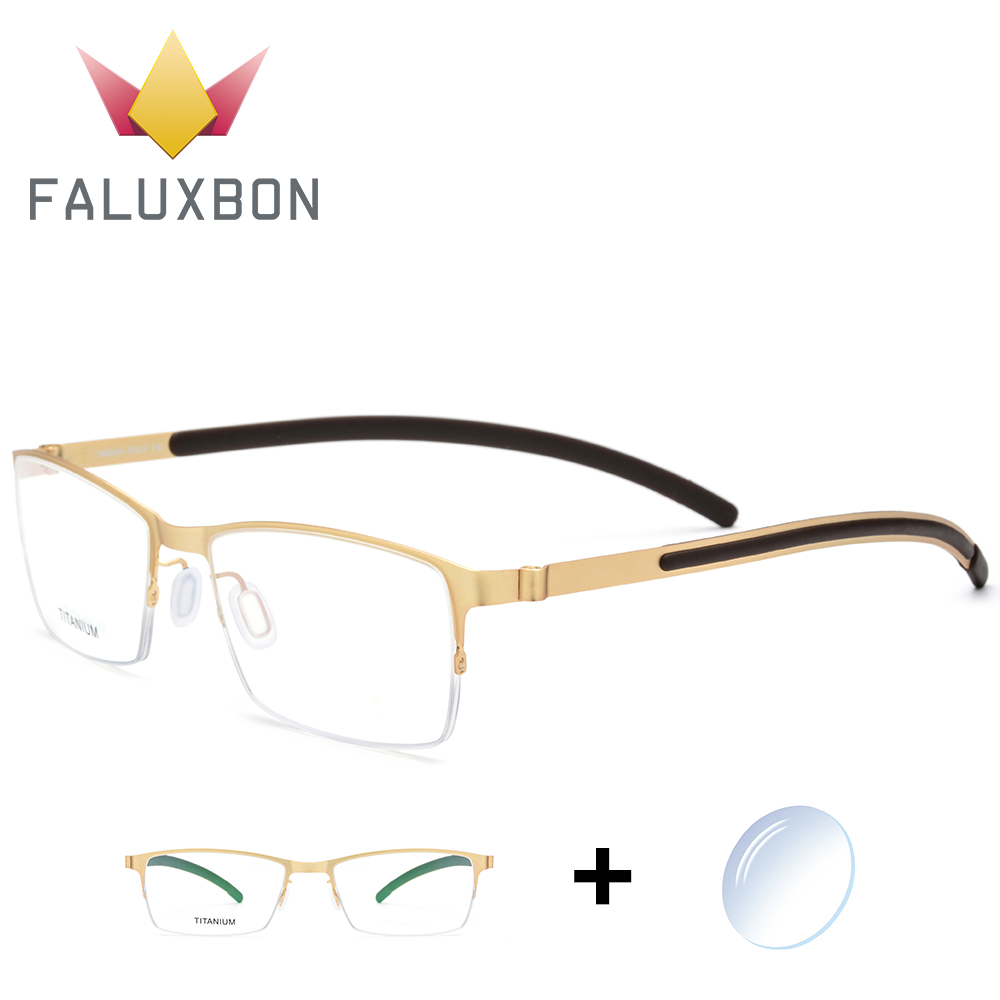 Titanium Alloy Semi Rimless Optical Prescription Glasses Men Transparent Myopia Eyewear 2019 Male High Quantity Eyewear Brand