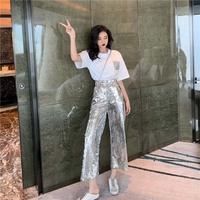 Summer Women Two Piece Set and Pants Casual T shirt Tops Sequin Pants Suit Casual Outfits 2 Piece Matching Sets Tracksuit