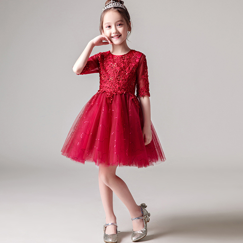 U-SWEAR 2019 New Arrival Kid   Flower     Girl     Dresses   O-neck Half Sleeve Lace Sequined Beaded Chiffon Ball Gown Mini Pageant   Dresses