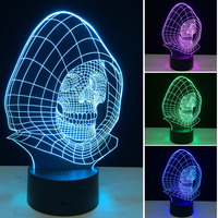 3D Night Lights 7 Color Changing Skull USB Optical Illusion Home Decor LED Table Lamp Colorful