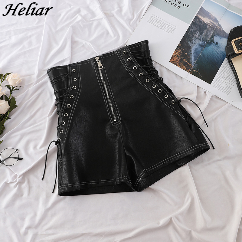 HELIAR Women Black   Shorts   Criss Cross Bandage   Short   Pants Fashion High Street Solid Denim   Shorts   Slim Sexy 2019 New Ripped