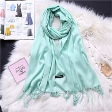 LaMaxPa 2018 New Fashion Winter Warm Solid Scarf For Women/Lady Thicken Wool Pashmina Shawls Long Cashmere Female Wraps Capes