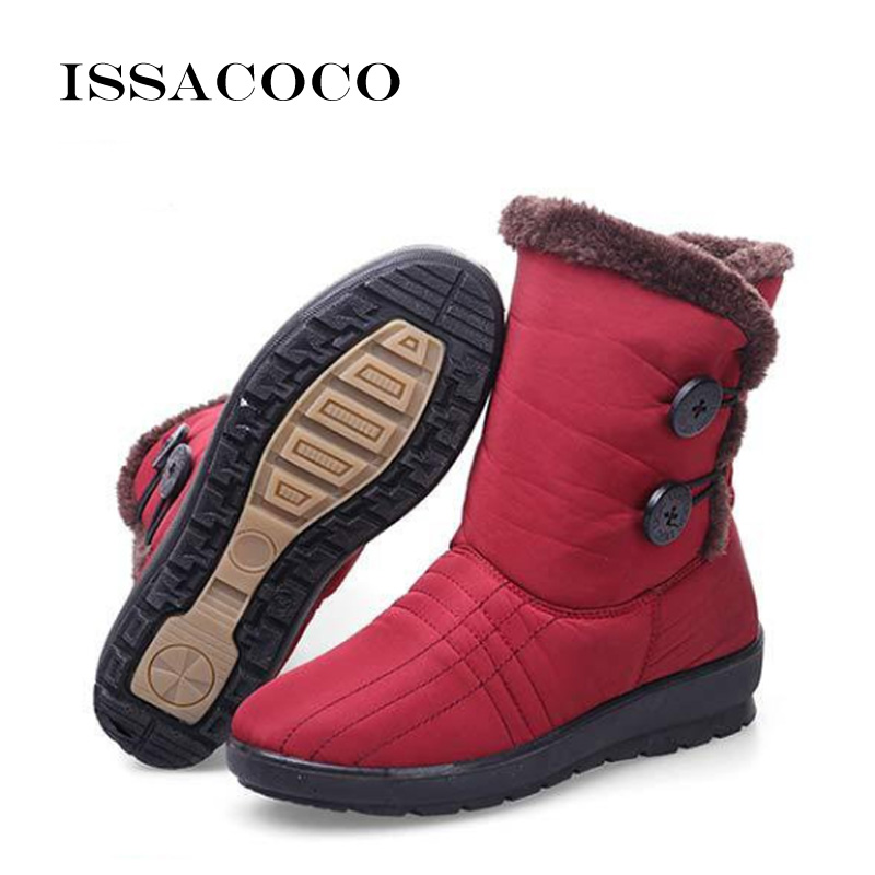 ISSACOCO 2018 Snow Boots Women Shoes For Ladies Kids Girl Baby Casual Antiskid Waterproof