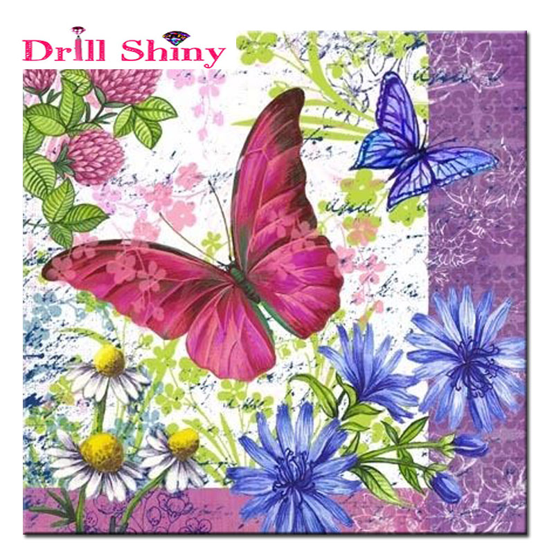 Diamond Painting Embroidery Purple Lilac Butterfly Drawing Cross Stitch Horse Diy Chinese Handmade Resin Crafts Wall Decor