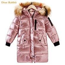 Детская зимняя куртка, одежда, пальто для девочек, теплое длинное пуховое хлопковое пальто с меховым воротником и капюшоном для детей, верхняя одежда, парка, одежда