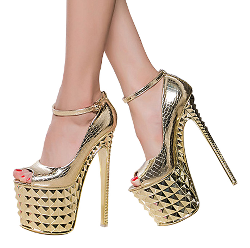 ФОТО Katypeny 2017 Fashion Peep Toe Ankle Strap Super High 19cm Heel Platform Pumps Sexy Model Night Club Career Shoes Woman Stiletto
