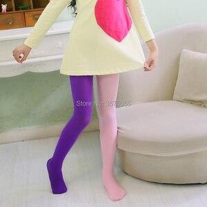 Image 2 - Meisjes Snoep Kleur Panty Voor Baby Kids Leuke Fluwelen Panty Contrast Combinatie Kleur Meisje Lente/Herfst Warme Dans Kousen