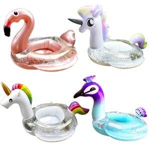 Flotador inflable para piscina de Chico, flamenco, unicornio, caballo, pavo real, con purpurina, Círculo de natación, inflable, asiento para bebé con asas