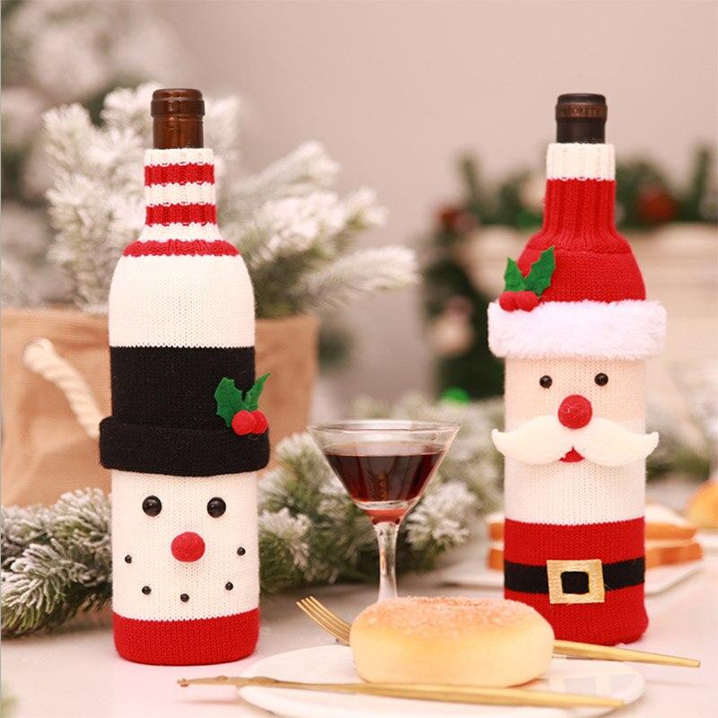 Christmas Decoration 2018 Santa Claus Wine Bottle Cover Gift Santa Sack Bottle Hold Bag Snowman Noel Xmas Decor Home Decoration 1