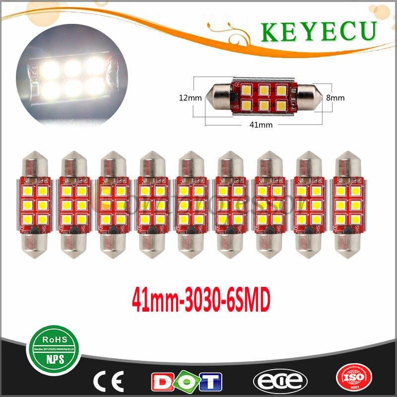 Keyecu Ultra Bright 41 мм Универсальный 3030 6SMD LED Купол Чтение двери гирлянда огней  ...