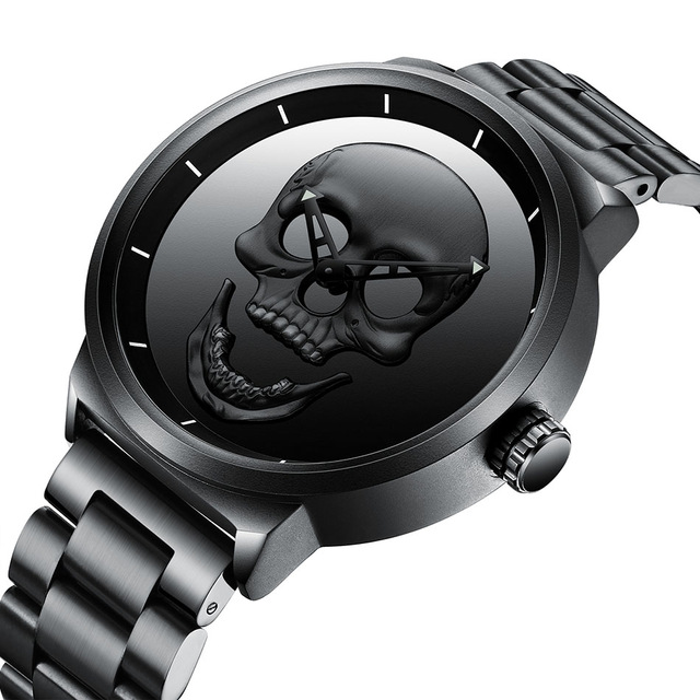 Top Luxury Brand Biden Mens Watch Skull Men Black Sport Watch Stainless Steel Punk Stylish Waterproof Clock Male Wristwatch Gift minifocus stylish sport mens watches seiko chronograph wristwatch for men popular black and blue silicone chain clock male