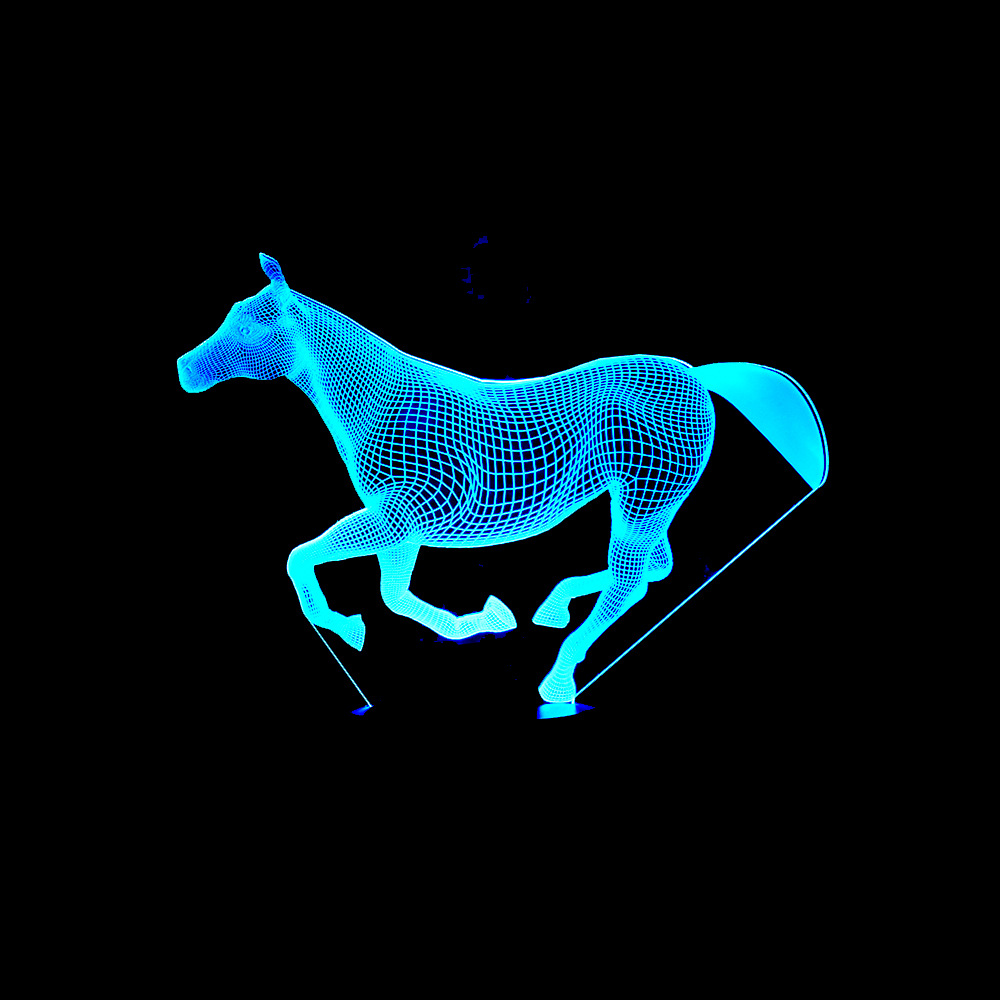 3D LED Night Coral Horse 7 Color Change LED Lights USB Novelty Wireless Wall Lamp Children's Night Light Atmosphere Desk Lamp novelty led night light wireless remote control dimmable night lamp rgb kids children desk table lights usb 5v