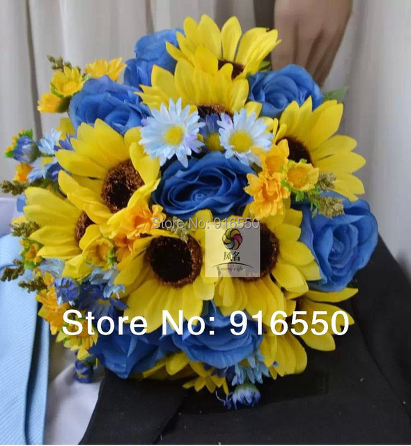 Free Shipping Silk Flower Rosesun Flowerdaisy Blue And Yellow